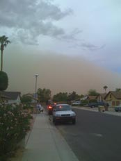 Approaching dust storm in Glendale, AZ