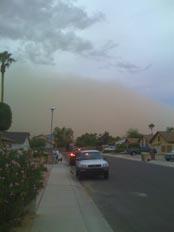 Approaching dust storm in Glendale, AZ