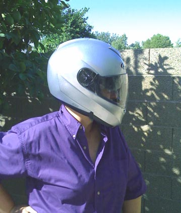 Full head helmet with plain and sun shield