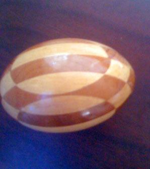 Inlaid wood darning egg