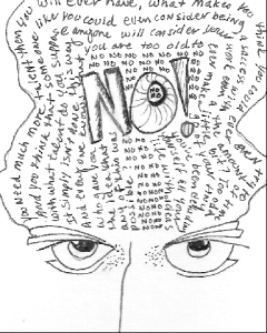 Gremlin of Negative Self Talk, Pitt Pen on paper (c) Q. McDonald 2009