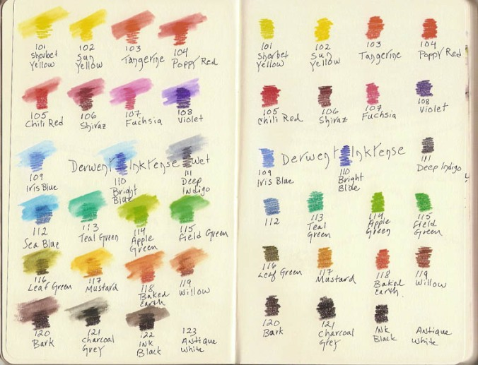 Derwent Inktense color swatch