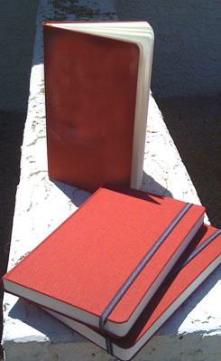 The red journals before they hit the trail.