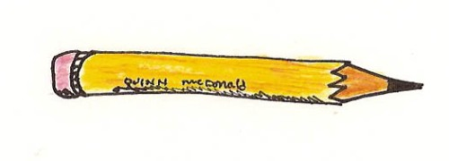 Yellow pencil. Colored pencil, ink. © Q. McDonald