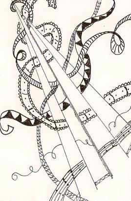 Circus Stilts, Pitt Pen on paper, (c) Quinn McDonald