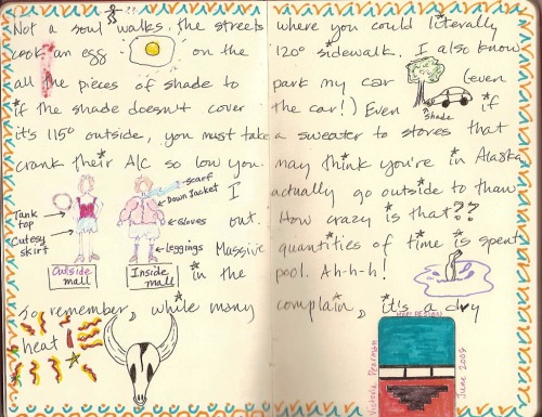 Victoria's page in the Sonoran Traveling Journal