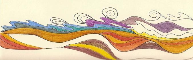 Raw-art-journal entry, Inktense pencils on paper, © Q.McDonald, 2009
