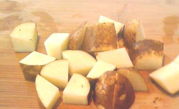 Potatoes cut for soup
