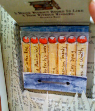 Banned books as matches, detail of altered book, © Quinn McDonald, 2009