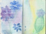 Journal page, written on in clear Sakura gel pen, covered with watercolor wash. © Quinn McDonald 2011
