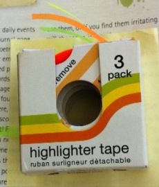 Highlighter tape comes three to a pack.