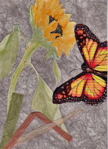 This is the completed journal page I started yesterday, by applying the weed block background. Today I added a fabric butterfly, raffia stems and a paper cut-out of a  sunflower sketch, colored with watercolor pencils and Pitt brush pens.