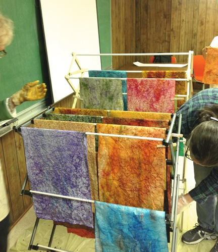 Inked papers drying. Don't they look like fabric?