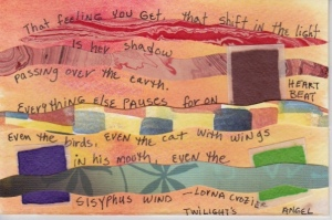 paper collage on inked watercolor, poem.