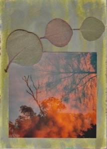 Loose leaf journal page: gilded, dried leaves, double-exposure film photograph, on painted and stained watercolor paper.
