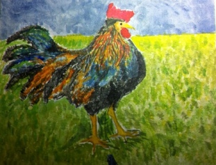 The chicken in an underpainting.