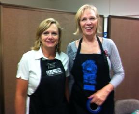 Senior Account Manager Kari Foteff, from Strathmore, and inventor Karen Elaine.
