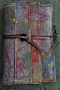 Folder for loose-leaf journal pages. Monsoon papers, stitched.