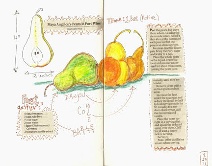 Journal page with Maya Angelou's pear recipe