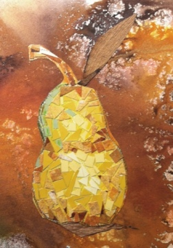 Pear mosaic on free-standing journal page
