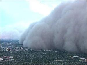Dust storm rolling into Phoenix, courtesy komo news.