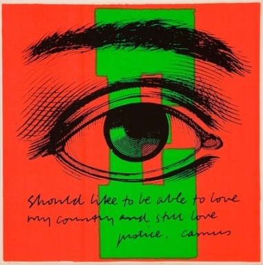 "Image, © Sr. Corita Kent. Quote by Albert Camus: [I] ""should like to be able to love my country and still love justice,"""
