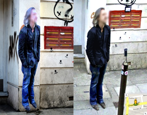 Paolo Cirio creates Street Ghosts from images of people caught in Google's street view.