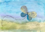 Postcard with butterfly made of maps and Monsoon Papers. © Quinn McDonald 2013