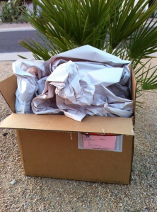 The box with contents hidden. You can tell I live in the desert by the xeriscaping.