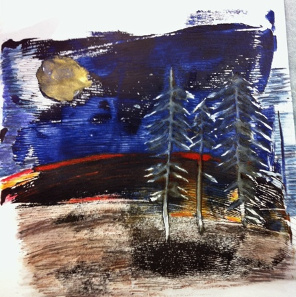 Night Pines © Quinn McDonald 2013, acrylic monoprint