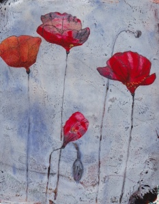 """Tall Poppies."" Gelli plate collage. © Quinn McDonald"