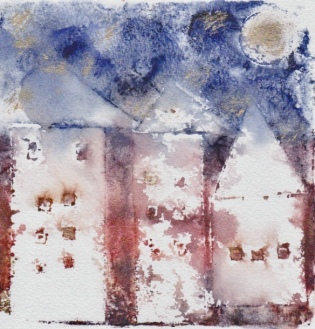 "Ghost print, ""Three houses in another city,"" acrylic monoprint on mixed media paper."