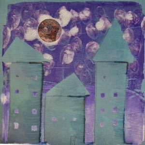 """Old Moon, New Sky,' Monoprint, acrylic paint on scapbooking paper."