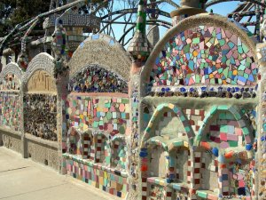 Detail of the Watts Towers, made of cement and broken pottery, found and discarded objects.