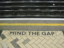 Caption at the metro station in Victoria Station, London.