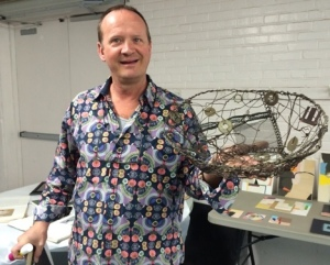 Adix shows a basket made of found pieces of wire and metal.