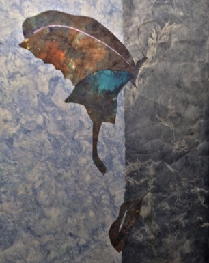 """Learning to Fly"" © Quinn McDonald  Collage: Monsoon Papers, handmade paper, sun-bleached paper, ink on mixed media paper."