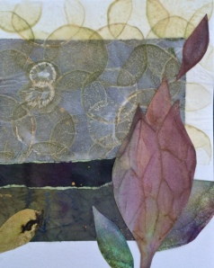 Collage on mixed-media paper: Monsoon Papers, handmade vegetable paper, glue.