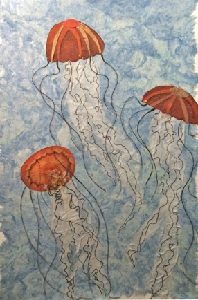 """""""Finding their way through the dark,"""" © Quinn McDonald, Monsoon Paper, tissue, ink and watercolor pencil on handmade paper, 2014"""