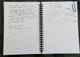 Showing double-truck spread of Maruman Mnemosyne notebook. Right page has been deliberately blurred.