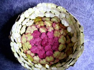 Inside view of blossom-coated bowl.
