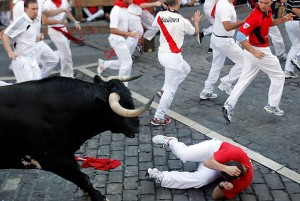 In the running of the bulls, people run, bulls run, and then the bulls are killed in the afternoon.© Washington Post