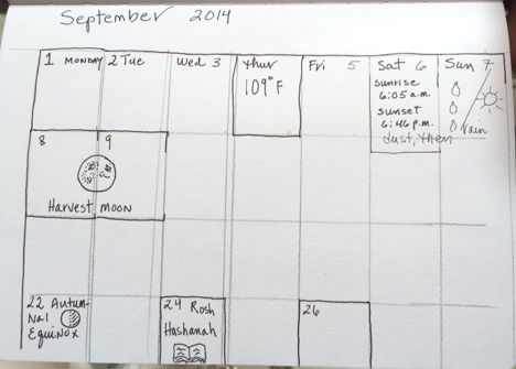 Calendar at the beginning of the month, pencil boxes still in place. Not much filled in.