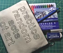 Traveling instant art kit: Neocolor II, water brush, pencil, Pitt Pen, eraser. The bare necessities.