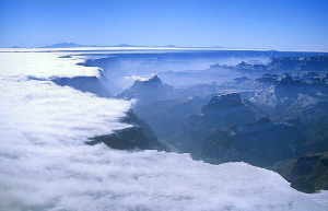 Fog in the Grand Canyon.