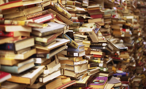 Books piled high