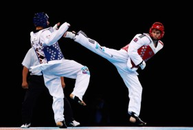 Sparring match in TaeKwonDo.