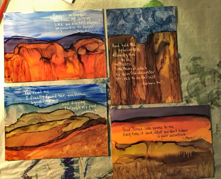 Four project cards on my work desk. My landscapes do seem to stay in Arizona's desert.